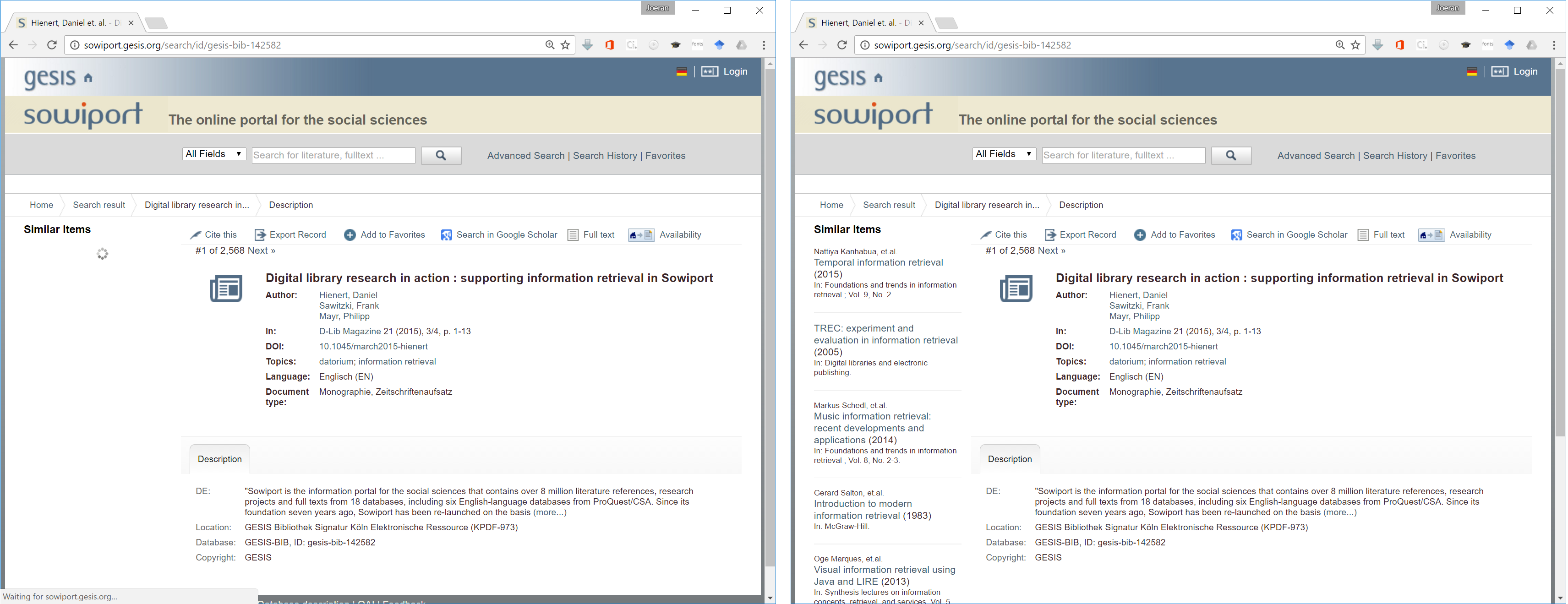 Sowiport requests our recommendations-as-a-service via Mr. DLib's JavaScript Client.